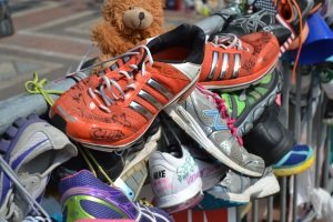 The sneakers at the Copley Square memorial.