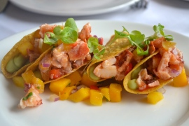 Spicy Lobster Tacos - avocado mousse, mango salsa