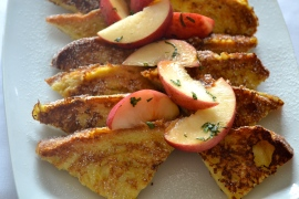 Pullman French Toast - smoked maple syrup, white peach, Thai basil