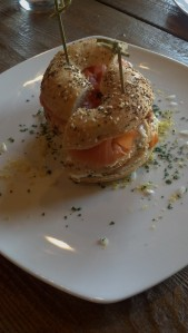 Smoked Salmon Club - everything bagel, scallion cream cheese